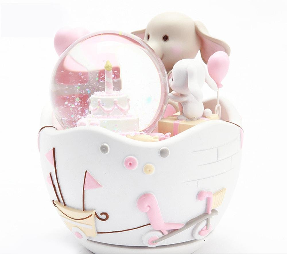 OOFYHOME Snow Globe Music Box-Girl Child Birthday Christmas Gift Small Elephant Rabbit