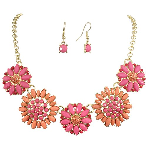 5 Daisy Dot Flower Cluster Bubble Gold Tone Boutique Statement Necklace & Earrings Set (Pink & (Jewel Flower Necklace)