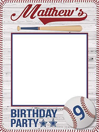 Baseball Birthday Photo Booth, Baseball party - Size 36x24, 48x36; Baseball Frame, Personalized Baseball bat, Sports Birthday selfie frame, Handmade Party Supply Baseball Birthday Party Photo prop]()