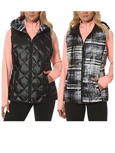 - Gerry Reversible Packable Down Vest for Women (M, Black/Graph Plaid)