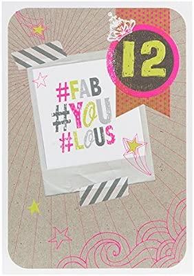Hallmark - Tarjeta de cumpleaños para mujer «#Fab #You #Lous»», tamaño medio, Medium