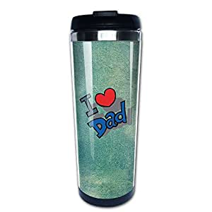 Love Dad Unisex Diversified Thermos Cup Coffee Mugs Water Tea Homeusage Outdoor Usage Stainless Steel Cups