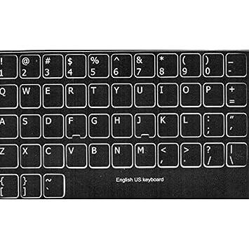 adesivitastiera. it - Pegatinas Letras Teclado USA fondo negro letras blancas: Amazon.es: Electrónica