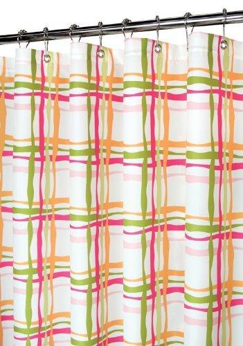 Amazon Park B Smith Wavy Lines Plaid Tangelo Fabric Shower