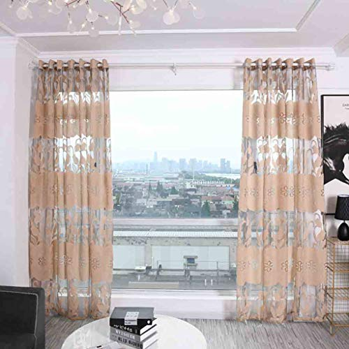 - Juesi Sheer Curtains with Patterned - 2Pcs Grommet Top Tulle Sheer Drapes for Kitchen Bedroom, 106'' x 39''