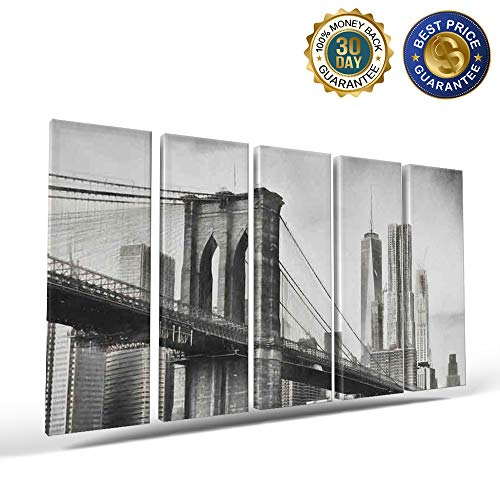 5 Panels Canvas Print Wall Art Black and White,New York City Bridge Building Wall Decor Pictures for Living Room Modern Artwork Stretched and Framed Ready to Hang -