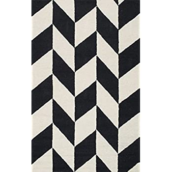 nuLOOM MTHM03A Hand Tufted Katte Wool Rug, 5 x 8, Black and White