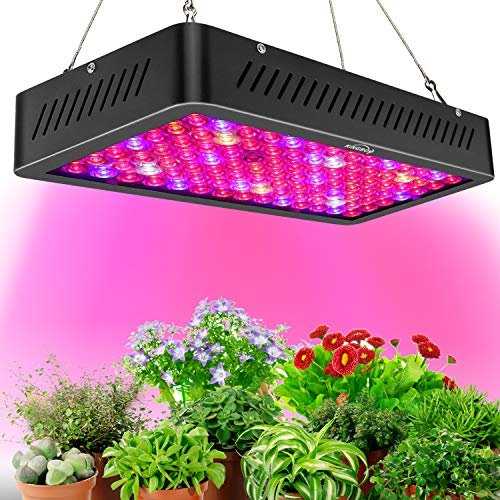 KINGBO Newest 1000W LED Plant Grow Light, Double Chips Daisy Chain Optical Lens, with Adjustable Rope, Full Spectrum LED Growing Lamp Professional for Indoor Plants Veg and Flower (12-Band, 10W/LED)