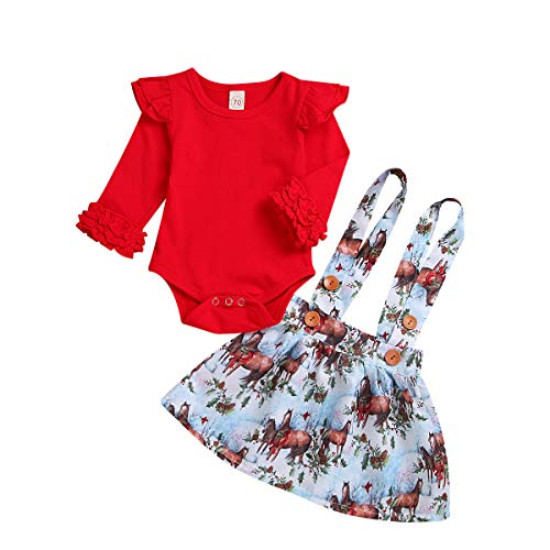 ZOELNIC Baby Girls Suspender Skirt Set Ruffle Long Sleeve Tops + Christmas Tree Plaid Skirt Outfit (Red 2, 0-3m)