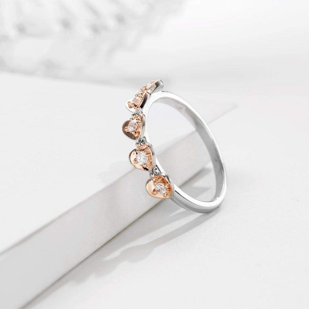 HCBYJ Lady ring Two-Tone Design Heart-Shaped Commitment Finger Wedding Ring Female Crystal 925 Sterling Silver