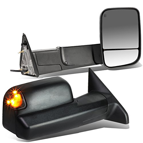 For Dodge RAM Pair of Black Powered + Heated Smoked Signal + Foldable Side Towing Mirrors