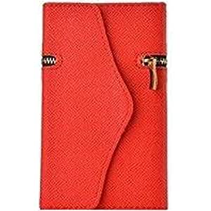 DKX Shockproof Dirtproof Unique Zipper Synthetic Leather Flip Wallet Credit Card Holder Case Cover Skin Shell For Apple iPhone 4 4G 4S -Red