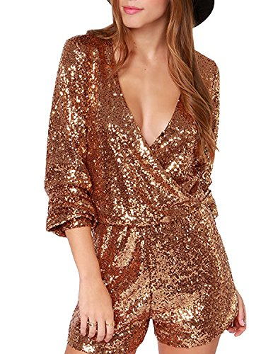 HaoDuoYi Womens Sequin V Neck Wrap Tunic Party Jumpsuit Romper(M,Gold) (Cheap Fancy Dress Outfits)