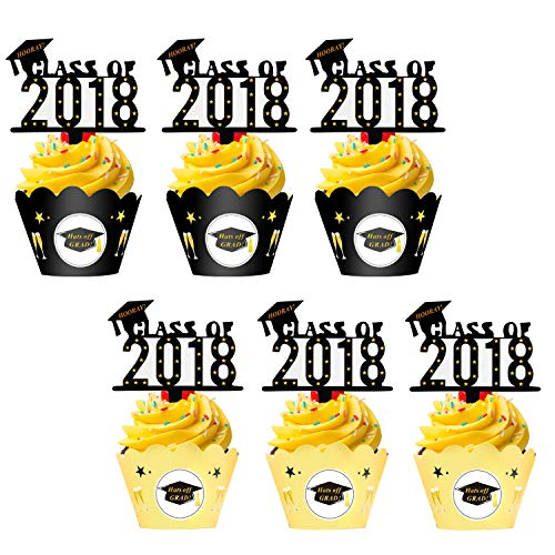 Graduation Cupcake Toppers Wrappers(48pack),Konsat Class of 2018 with Cap Graduation Picks Black Gold Decor Table Decorations for Grad Party Decoration Graduation Party Favors Supplies