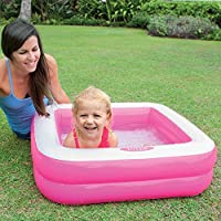 INTEX-57100NP Piscina infantil hinchable cuadrada, color rosa, 86 ...