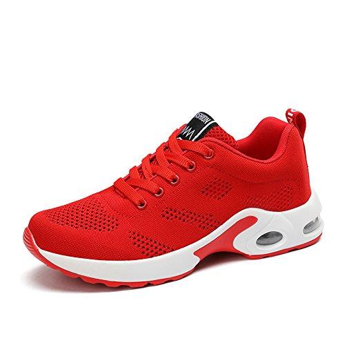Zapatillas Deportivas de Mujer Running Fitness Sneakers Zapatos para Correr con Cordones Calzado de Malla Air Tacón Casual Negro Rosado Púrpura 35-40 Rojo