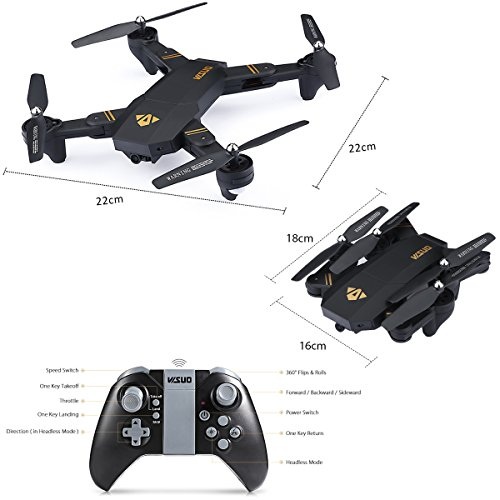Virhuck-VISUO-XS809W-Drone-with-Camera-720P-Foldable-RC-Quadcopter-24-GHz-with-Dual-Batteries-900mAh-WiFi-FPV-Quadcopter-with-Live-Video-Mobile-APP-Control-Altitude-Hold-Mode-Selfie-RC-Helicopter