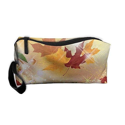 Kla Ju Portable Pencil Bag Purse Pouch Natural Maple Leaf Stationery Storage Organizer Cosmetic Holder -