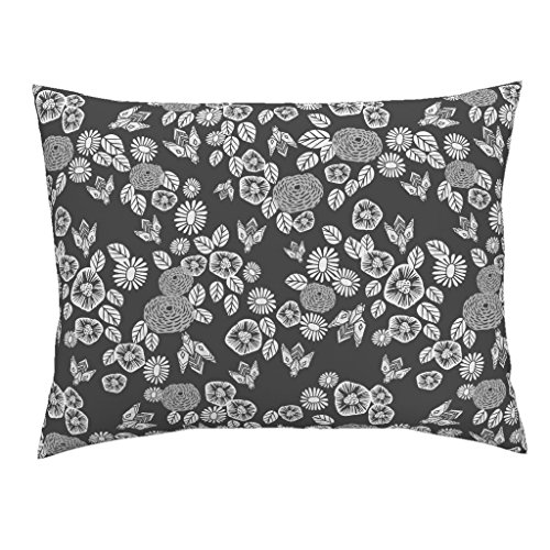 Roostery Bee Bees Zinnia Floral Flower Block Print Euro Knife Edge Pillow Sham Bees in The Garden - Charcoal by Andrea Lauren 100% Cotton Sateen from Roostery