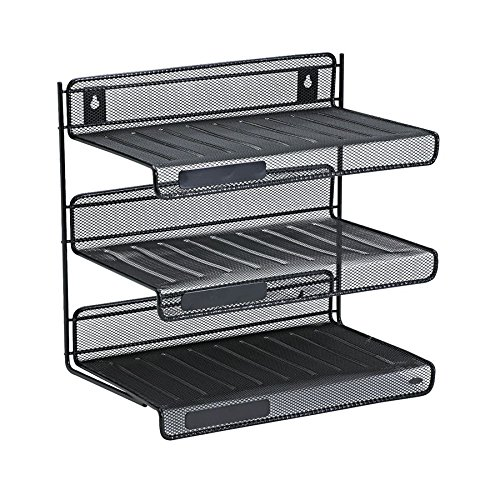 Rolodex Mesh Collection 3-Tier Desk Shelf, Letter-Size, Black (3 Tier Desk Shelf)