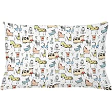 Animal Throw Pillow Cushion Cover by Lunarable, Cute Cow Horse Pigs Chicken Sheep Farmhouse Mascots Kids Nursery Baby Cartoon Print, Decorative Accent Pillow Case, 26 W X 16 L Inches, Multicolor