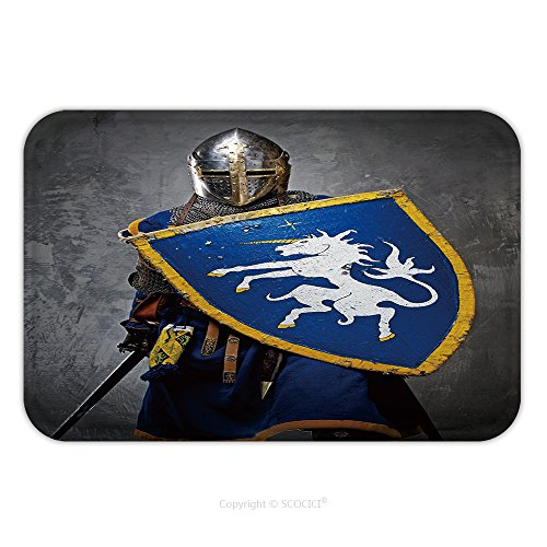 Medieval Film Costumes (Flannel Microfiber Non-slip Rubber Backing Soft Absorbent Doormat Mat Rug Carpet Medieval Knight On Grey Background 95623012 for Indoor/Outdoor/Bathroom/Kitchen/Workstations)
