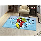 smallbeefly Youth Bath Mats for floors Teenager Playing Skateboard on Street with Abstract City Background Circles Buildings Door Mat indoors Bathroom Mats Non Slip Multicolor