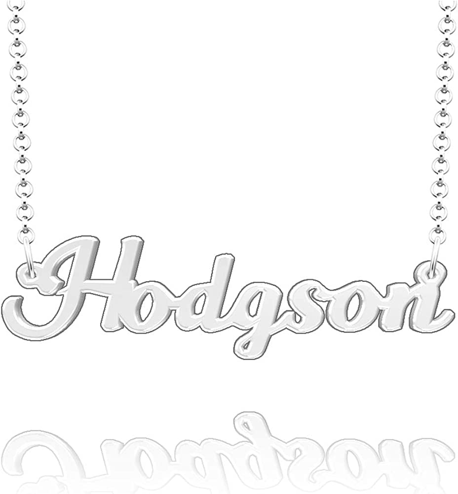 EV.YI Jewels Hodgson Custom Personalized Name Necklace Last Name Plate Pendant Gift for Family Mom Dad Friend Lover