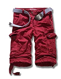 BSTGE Men's and Boy's All-Season Belted Ripstop Cargo Short