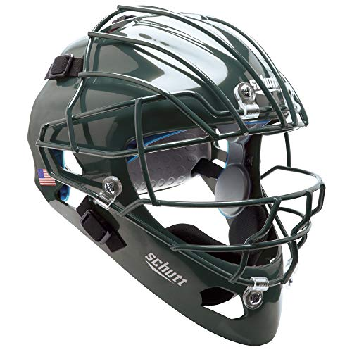 Schutt AiR MAXX Hockey-Style Catcher's Helmet with Facemask, Dark Green, Extended OS Cage Face Mask