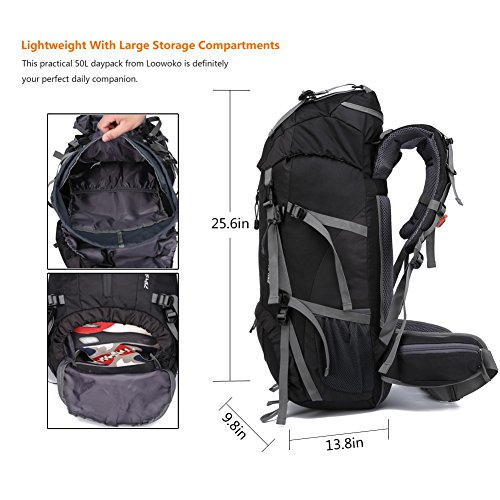 9e535e3f4265 Loowoko Hiking Backpack 50L Travel Daypack Waterproof with Rain Cover for Climbing  Camping Mountaineering
