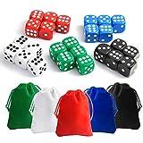 KUUQA 25 Pieces Dice Set 6 Sided 5 Colours Spot Dice with Bags for Tenzi, Farkle, Yahtzee, Bunco or Teaching Math Dice Games