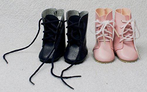 JOINER Shoes for Dolls, 2 Pairs of Blue and Pink Faux Leather Boots. Boots Size : (L) 4.5cm (W) 2.5cm (H) 5.25.cm. for 12-16 Inches Dolls ,