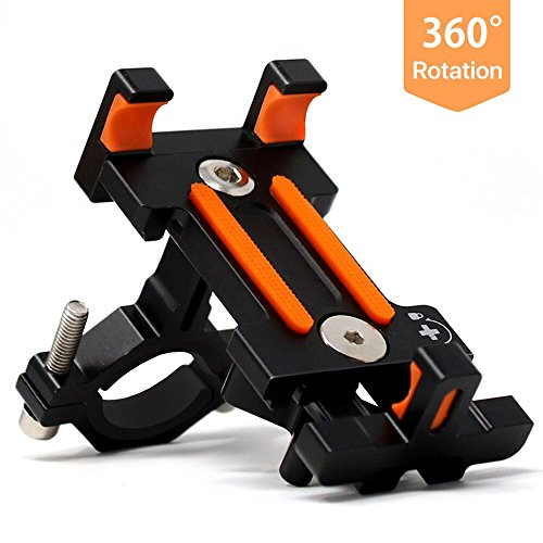 Sporcis Bike Phone Mount, Bicycle Motorcycle Handlebars Mobile Phone Holder with 360 ° Rotation Adjustable, Fits iPhone X, 8 | 8 Plus, 7 | 7 Plus, iPhone 6s | 6s Plus, Galaxy S7/ S6/ S5
