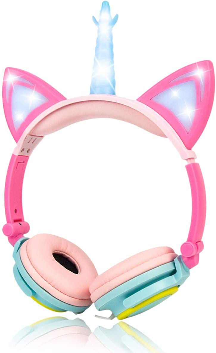 LIMSON Unicorn Headphones,Stereo Light-Up Headphones 3.5mm Jack with LED Light Cat Ears for Kids Children Adults Festival Gifts Present
