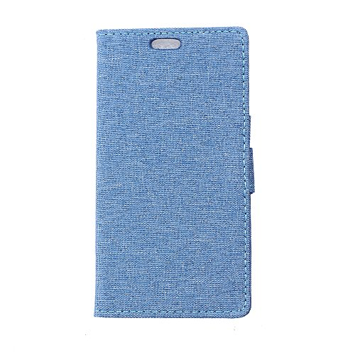 LG X Style Hülle,LG X Style Tasche,LG X Style Schutzhülle,LG X Style Hülle Case,LG X Style Leder Cover,Cozy hut [Burlap - Muster-Mappen-Kasten] echten Premium Leinwand Flip Folio Denim Abdeckungs-Fall, Slim Case mit Ständer Funktion und Identifikation-Kreditkarte Slots für LG X Style (5,0 Zoll) - blau