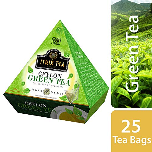 Herbal Weight Loss Pyramid Style Ceylon Green Tea - 100% Natural Organically Grown Teas Leaves - Refreshing Green Tea for Easy Digestion, Weight Loss & Increased Metabolism - 25 Tea Bags Per Pack