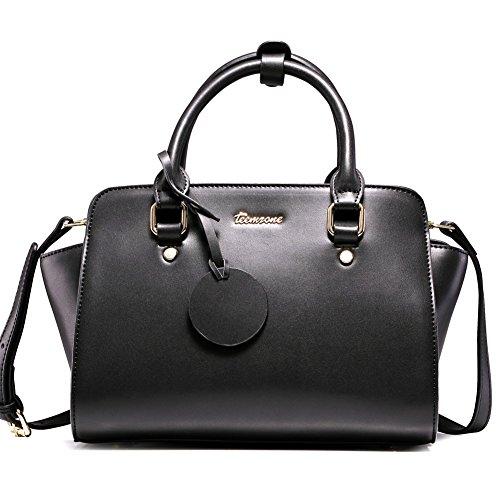 Teemzone Damen Tasche Umhängetasche Schultertasche Tagestasche Handtasche Leder Weiß&Schwarz Frauen (Schwarz)