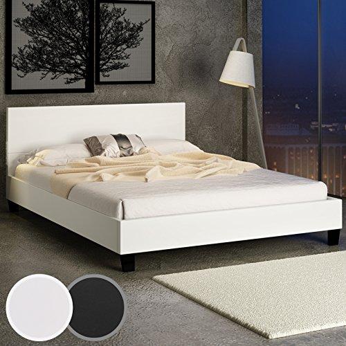 Design Kunstlederbett Doppelbett creme/weiss mit integriertem Lattenrost 140x200cm