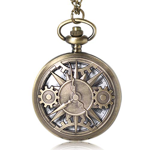 1x Antique Steampunk Pocket Watch with Chains, Mens Pocket Watch Xmas Birthday Gift