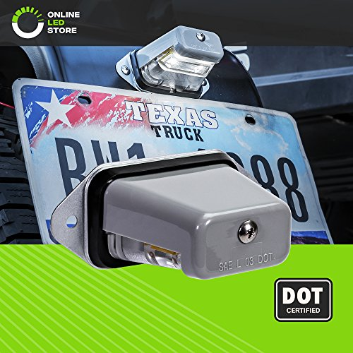 Surface-Mount LED Trailer License Plate Lights [DOT/SAE Certified] [IP67 Waterproof Rated] [Ultra-Durable] License Tags for Trailers, RVs, Trucks & Boats - Gray Housing