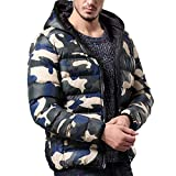 REYO Men's Jacket Clearance Winter Warm Hooded Down Jacket Casual Overcoat Outwear Camouflage Slim Trench Zipper Coat