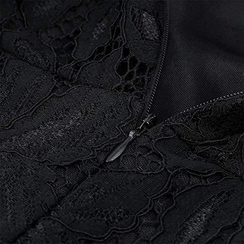 Chic vestito pizzo barchetta scollo a guipure in lunghe Inverno maniche da Angelof con sposa Donna nero lungo collo V Soiree RxqnwZP