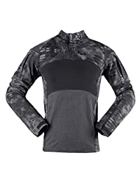Men's Combat Shirts Tactical Military Camouflage Shirt 1/4 Zip Long Sleeve T-Shirt