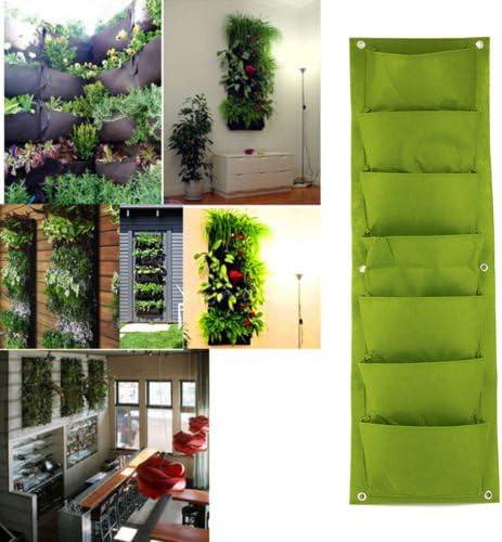 ajusen jardín Vertical maceta pared plantar flores crecer bolsa 7 bolsillo interior y exterior balcón impermeable Jardinería Siembra fácil de colgar para llenar con flores, hierbas y verduras: Amazon.es: Jardín