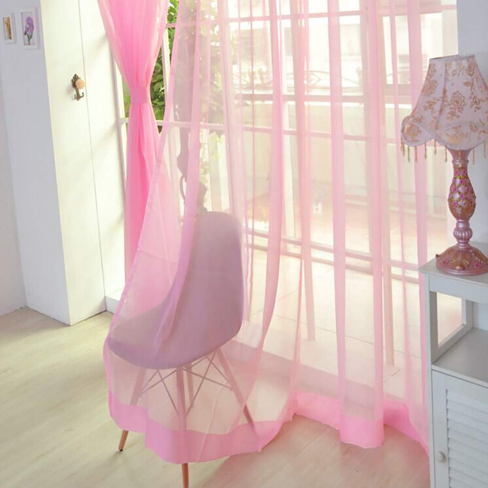 Window Curtain Drapes Scarf Decor,Quaanti Clearance Sale!1 PCS Solid Voile Door Window Curtains Drape Panel Sheer Scarf Valances Tulle Home Decor for Bedroom&Living Room& Kitchen (Pink)