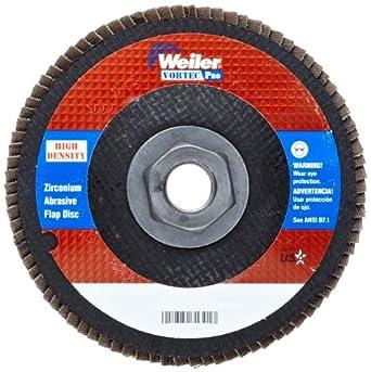 """Weiler Vortec Pro Abrasive Flap Disc, Type 27, Threaded Hole, Phenolic Backing, Zirconia Alumina, 4-1/2"""" Dia., 60 Grit (Pack of 1)"""