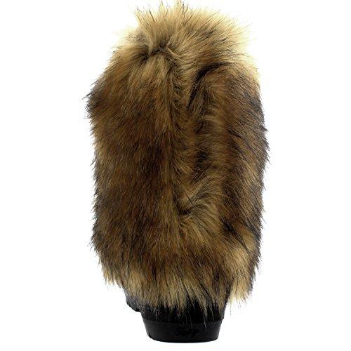 Womens Tall Rabbit Fur Covered Snow Rain Wasserdichte Yeti Eskimo Winterstiefel Schwarzes Leder