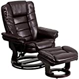 A Line Furniture Etin Brown Leather and Wood Swivel Recliner and Ottoman Set
