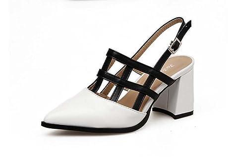 Scarpe da donna 7cm tacco a punta scarpe a punta Slingback Court colore  semplice partita cinturini c8c6e6f635a